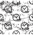 24h clock pattern grunge monochrome vector image vector image