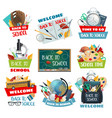 back to school and welcome study posters vector image
