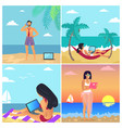 business summer posters set vector image vector image