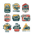 car repair vintage style labels set auto service vector image vector image