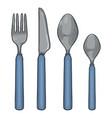 cartoon color set cutlery with blue plastic vector image vector image