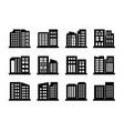 company icons and buildings set black office vector image vector image