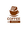 cup of coffee with a cake vector image
