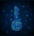 cyber security concept fingerprint in key shape vector image
