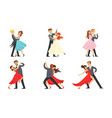 dancing couples set professional dancers vector image vector image