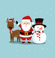 deer with santa claus and snowman to merry vector image vector image