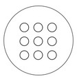 dial button icon black color in circle vector image vector image