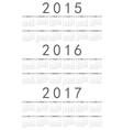 European 2015 2016 2017 year calendars vector image