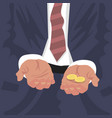 fired employee outstretched hands for begging vector image vector image