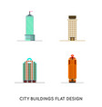 flat design retro and modern city houses old vector image