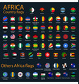 flat round flags africa on black background vector image