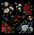 floral embroidery folk fashion pattern vector image