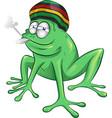 funny jamaican frog cartoon vector image vector image