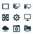 gadget icons set with printing machine online vector image