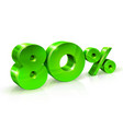 glossy green 80 eighty percent off sale isolated vector image vector image