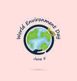 hand and green leaves signworld environment day vector image