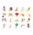 hands in different poses mix hand hold device vector image