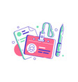 hr manager badge for employee with documents vector image