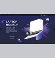 laptop rotated position mockup and website design vector image vector image