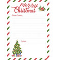 letter to dear santa claus template with copyspace vector image