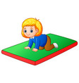 little girl crawling on the mat vector image vector image
