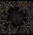 merry christmas black snowflakes festival card vector image