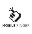mobile finger logo vector image vector image