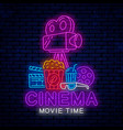 modern bright neon sign for cinema vector image vector image