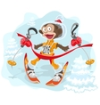 Monkey symbol 2016 goes skiing vector image