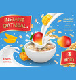 oatmeal advertising with mango and milk vector image vector image