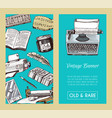 old books banner and seanless pattern vector image