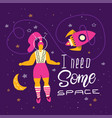 plus size woman in space body positivity humor vector image vector image