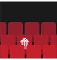 Popcorn box on red seat Movie theater hall Film vector image