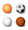 realistic sports balls set icon isolated on white vector image vector image
