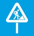 road works sign icon white vector image vector image