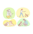set happy young people training walking and vector image