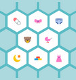 set of baby icons flat style symbols with diaper vector image