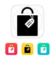 Shopping bag with label icon vector image