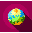 splash planet icon flat style vector image vector image