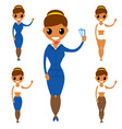 stewardess characters isolated worker stewardess vector image vector image