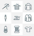 style icons line style set with knitting iron vector image