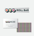 sushi roll bar flat logo japanese food emblem vector image