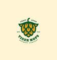 tiger hops logo vector image vector image