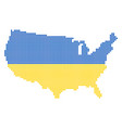 ukraine colors dot usa map vector image