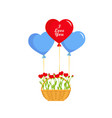valentines day balloons hearts and basket vector image vector image