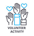 volunteer activity thin line icon sign symbol vector image