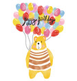 watercolour happy birthday card bear holding vector image