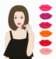 Woman applying lipstick vector image vector image
