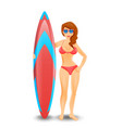 woman holding surfboard isolated on the white vector image