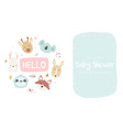 bashower invitation with cute animals vector image vector image